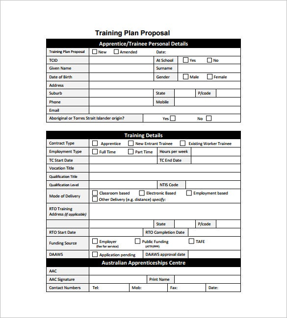 training plan proposal format download