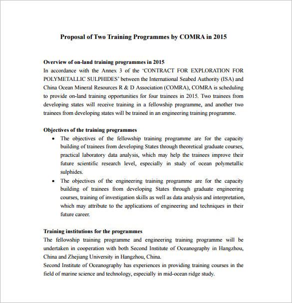 Workshop Proposal Template Free Sample Proposal Software