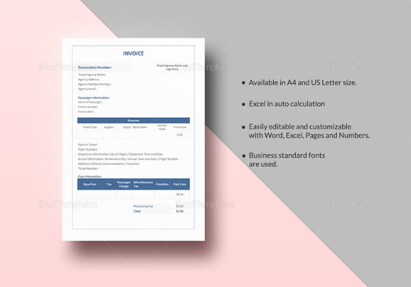 travel agency invoice template2