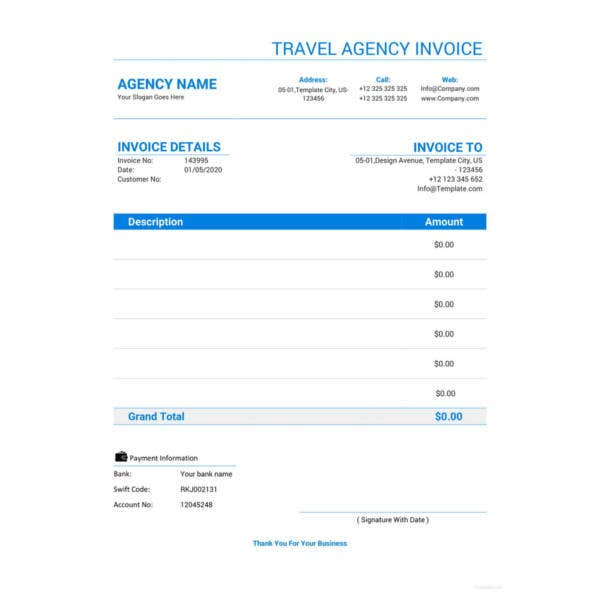 travel agency invoice template4