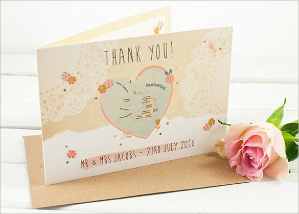 travel styled wedding thank you card template