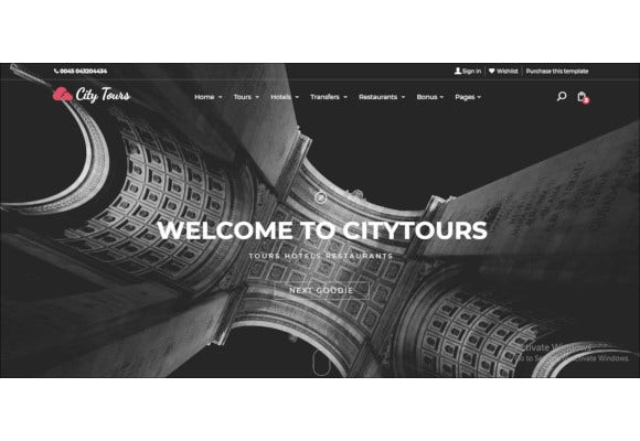 travel and tour tickets site template