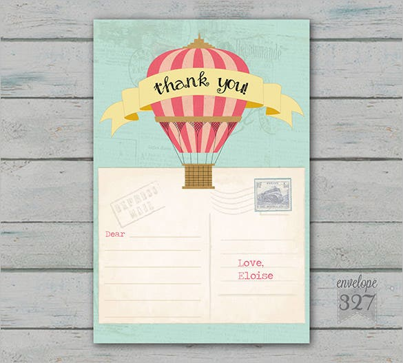 travel or hot air balloon thank you card