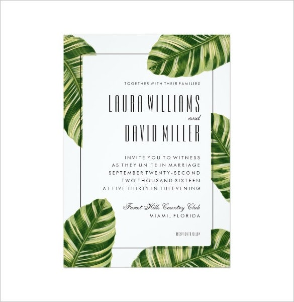 tropical palm tree beach wedding invitation card