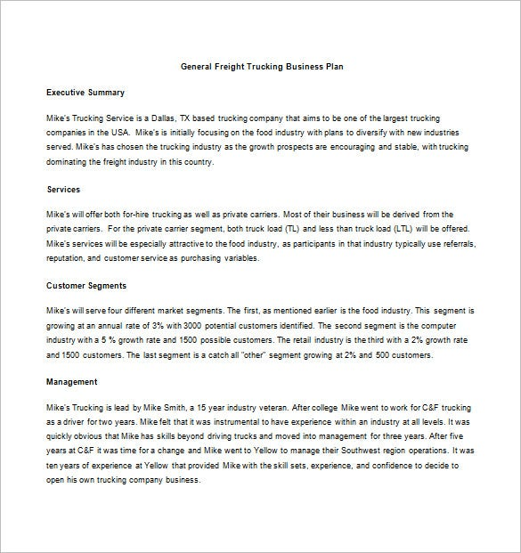 trucking business plan free download