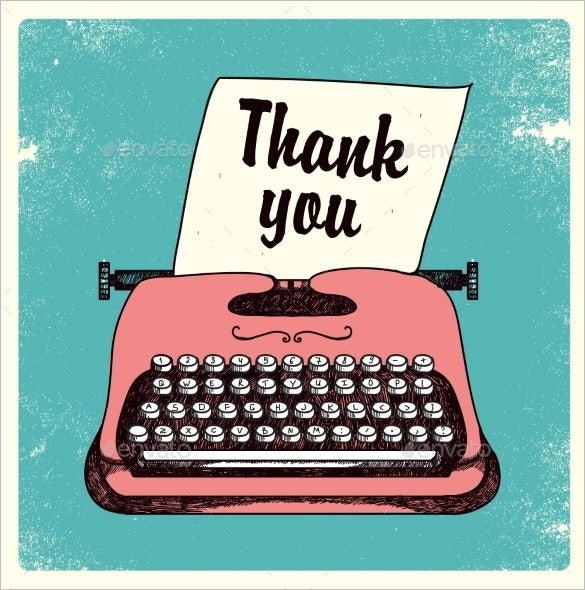 typing writer business thank you card template