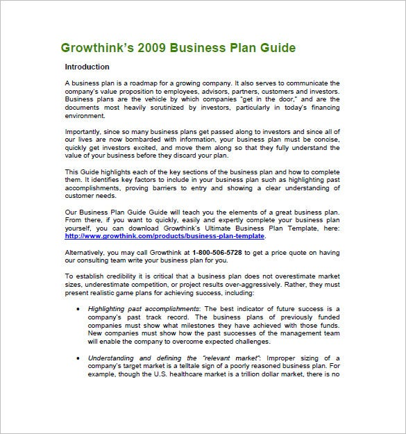 Business plan guide free