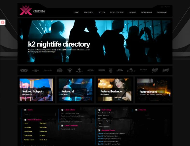 Ultimate Night Life Joomla Theme