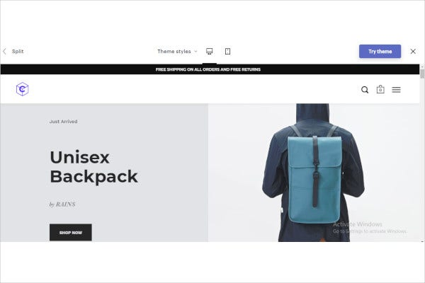 unisex backpack shopify theme