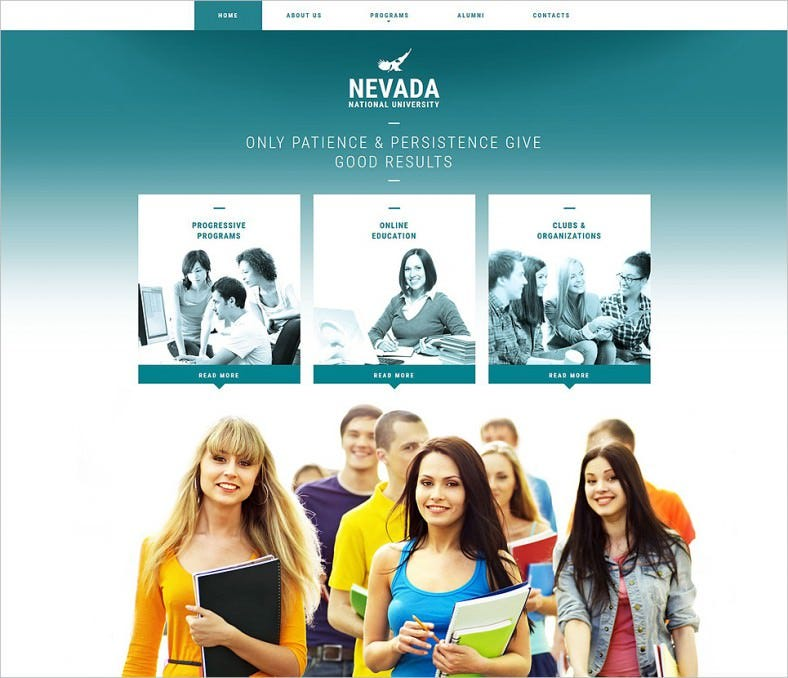 university responsive website template 788x678