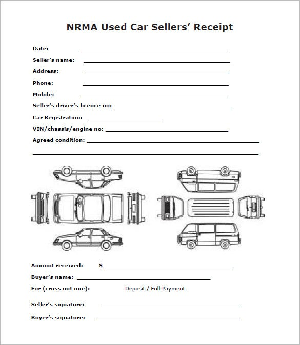 used car sale deposit receipt format download