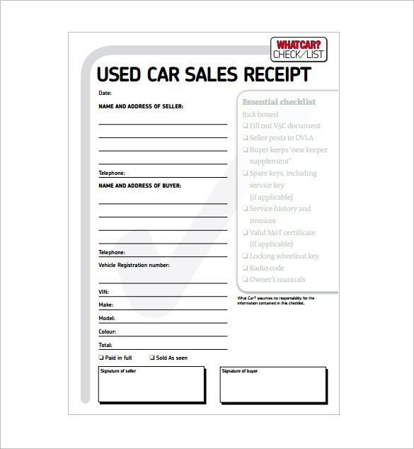 Used Car Sale Receipt PDF Download  Free Printable Receipt Templates
