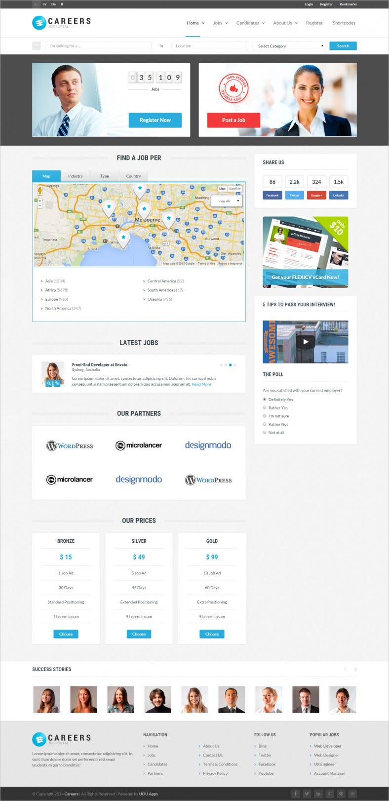 user friendly job portal psd website template 788x1622