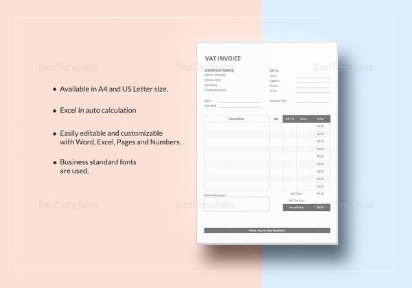 Invoice template with value added tax 14 free word excel pdf vat invoice template saigontimesfo