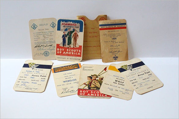 vintage boy scout membership card example