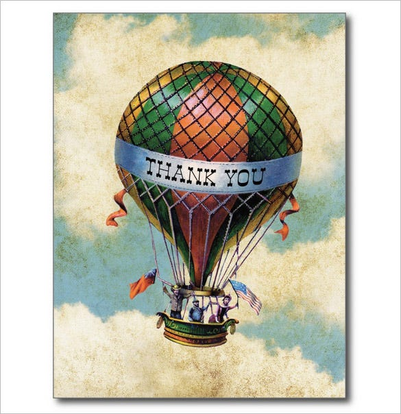 vintage colorful hot air balloon thank you card