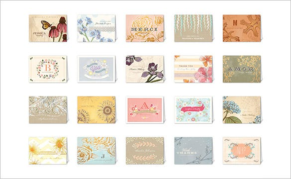 vintage fleur mix match thank you card set
