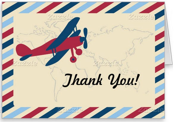 vintage plane airmail thank you stationery card