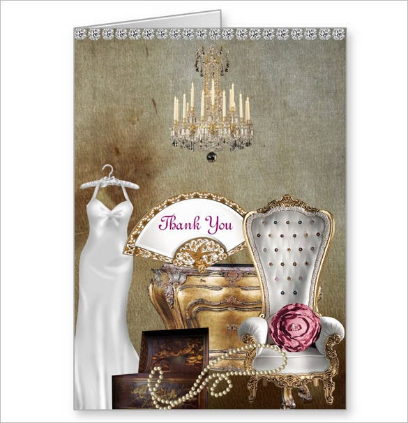 vintage style bridal shower thank you card