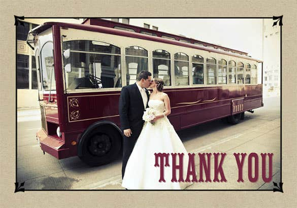 vintage style wedding photo thank you card
