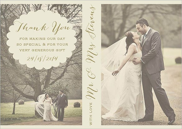 vintage style wedding photography thank you card