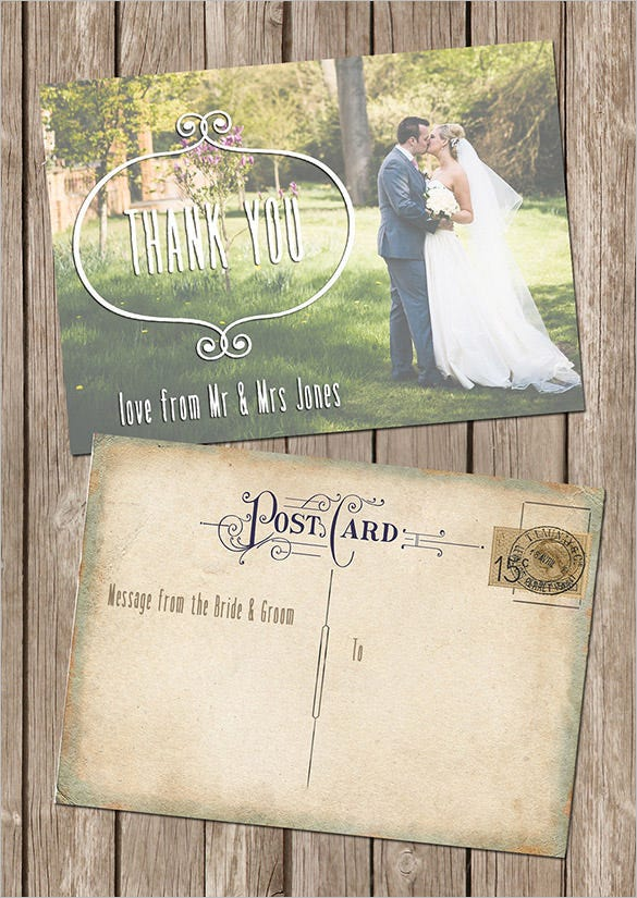 vintage styled wedding photo thank you card