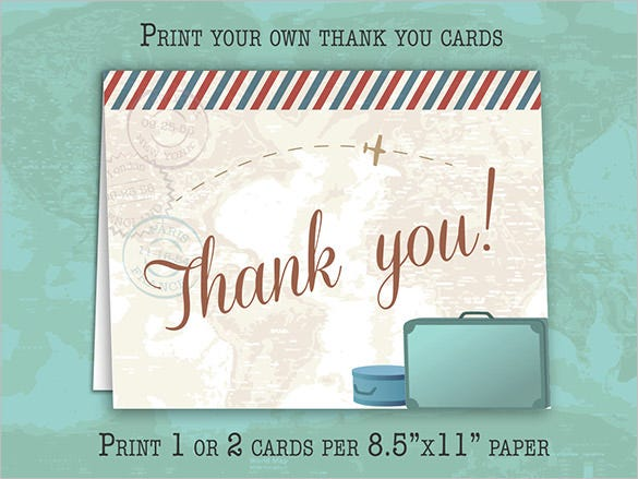vintage travel thank you card instant download