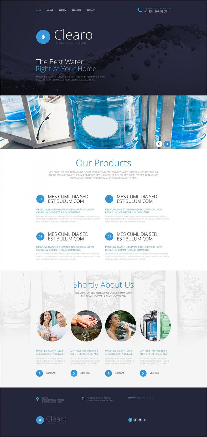 water company website template with lazy load effect 788x1662
