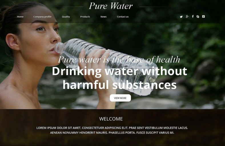 water responsive website template 788x512