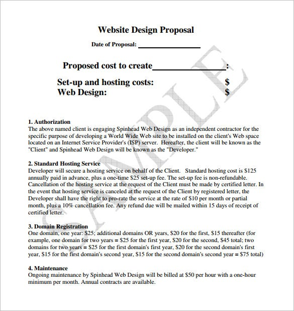 Web Design Proposal Format