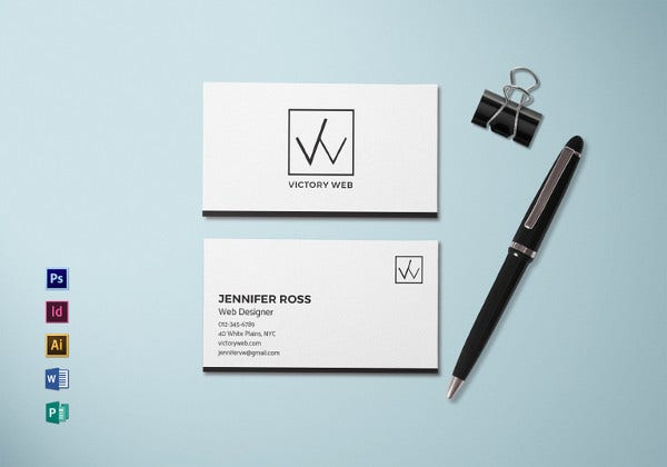 web designer minimal business card