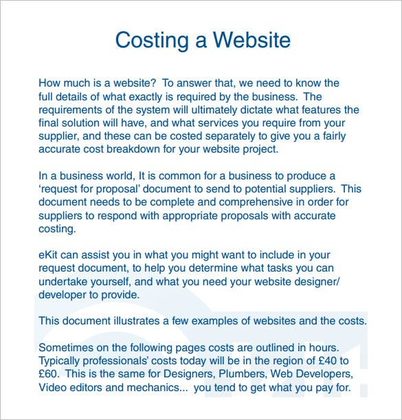 website cost proposal pdf download