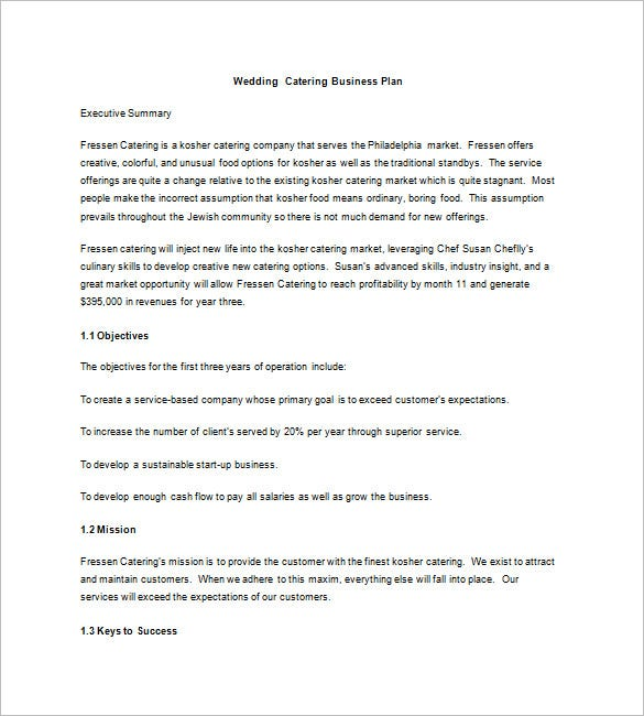 Catering Business Plan Template   Free Word Excel Pdf Format