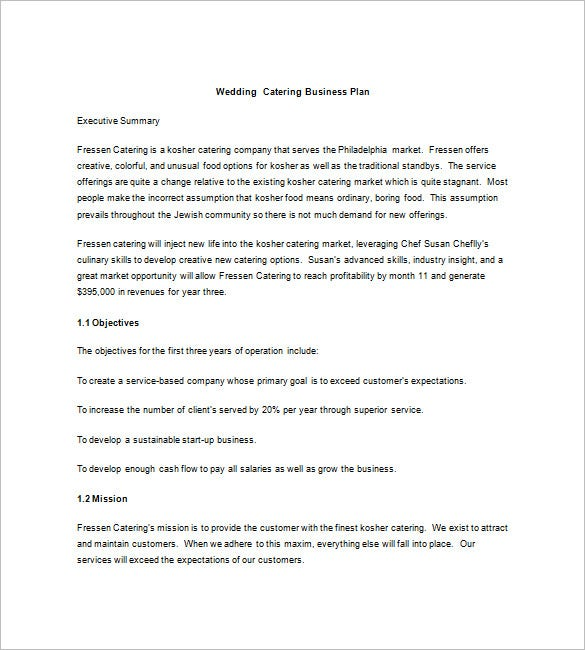 14 Catering Business Plan Templates Free Sample Example