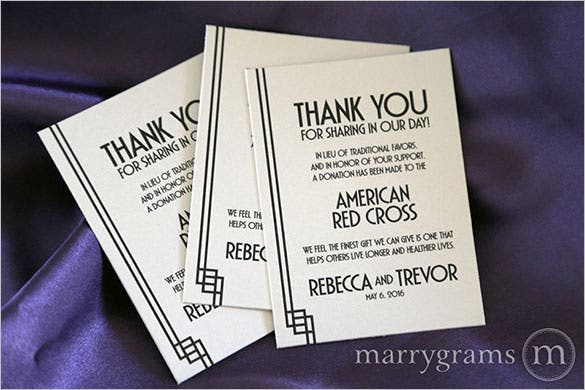 Wedding Donation Thank You Card  Microsoft Thank You Card Template