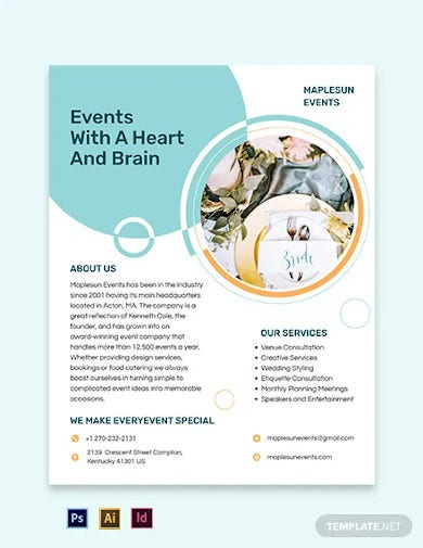 wedding event planner flyer template