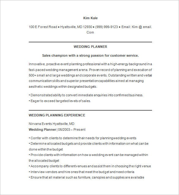 event planner resume template –    free samples  examples  format    wedding event planner resume