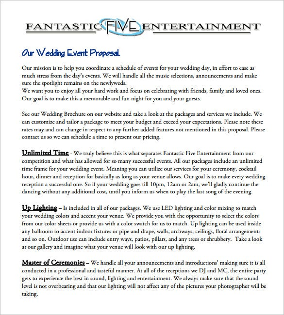Captivating Sample Wedding Event Proposal Free Download Throughout Events Proposal Sample