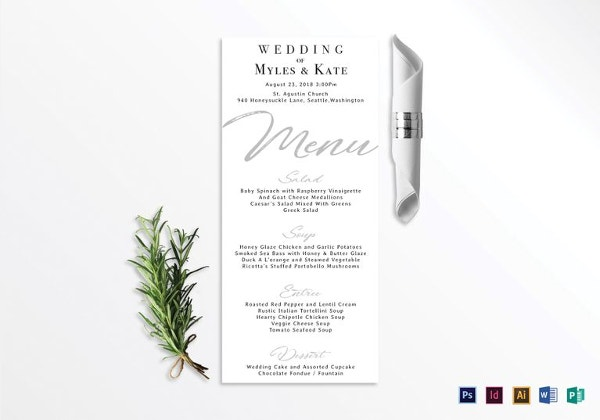 wedding menu card template