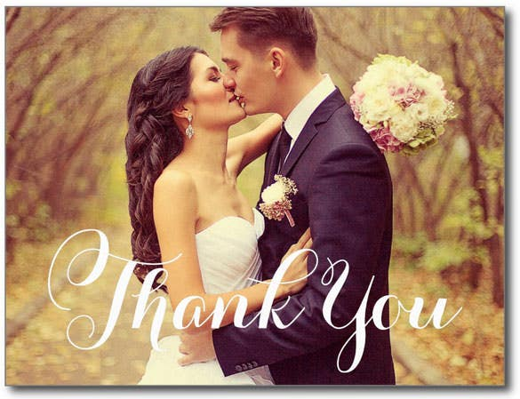 wedding photo thank you note card design