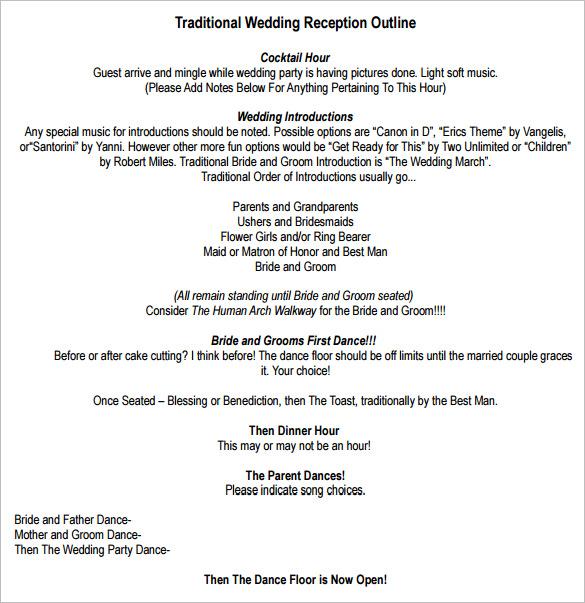wedding program outline download