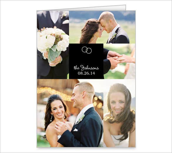 wedding rings collage thank you card