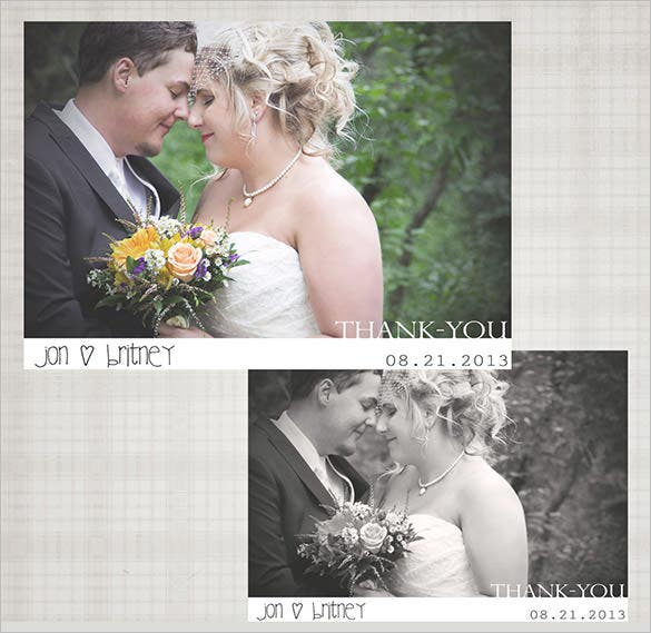 wedding thank you card digital photography template