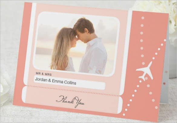 wedding travel thank you card template