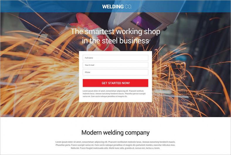 welding responsive landing page template 788x528