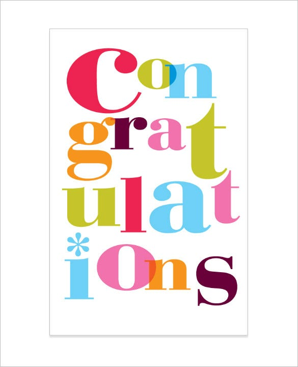 Congratulations Card Template - 20+ Free Sample, Example ...