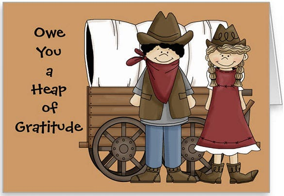 western style funny thank youcard