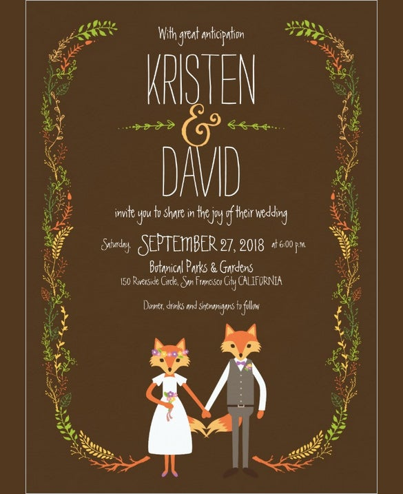 whimsical woodland foxes wedding invitation card example download
