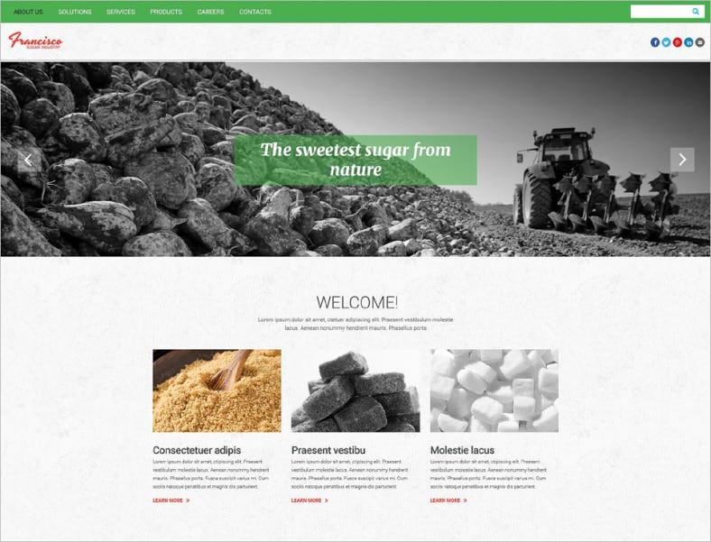 White Background HTML5 Website Template for Industry