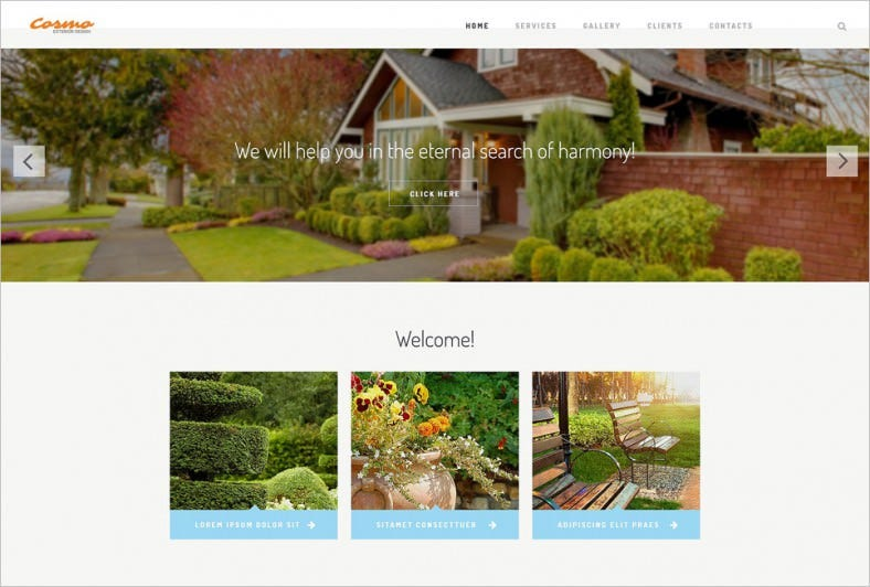 white background website template for exterior design 788x532